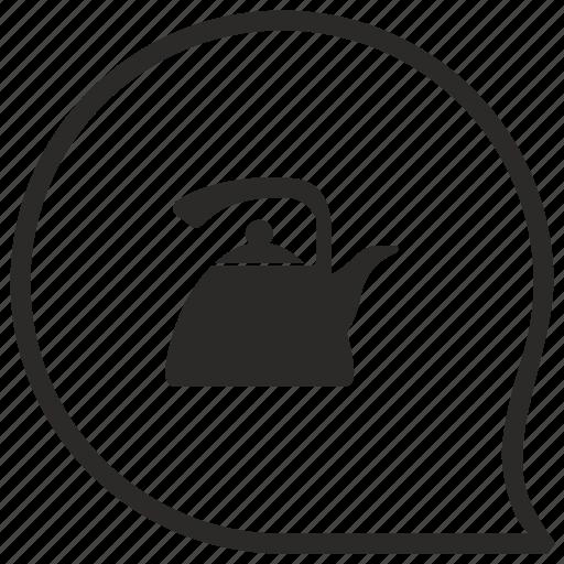 comment, dishes, kitchen, message, pot, tea icon