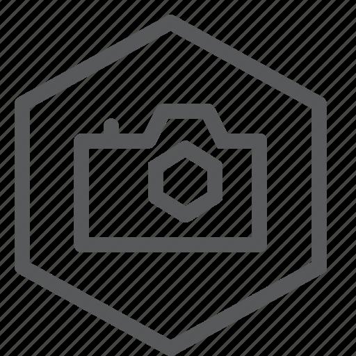 camera, film, hexagon, image, mode, photo, photography, shoot icon