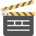 clapper board, movie clapper, movie making, photographic element, production equipment icon