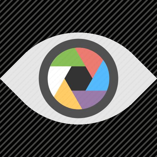 Camera aperture, digital eye, digital photography, professional photo lens, camera focus icon - Download