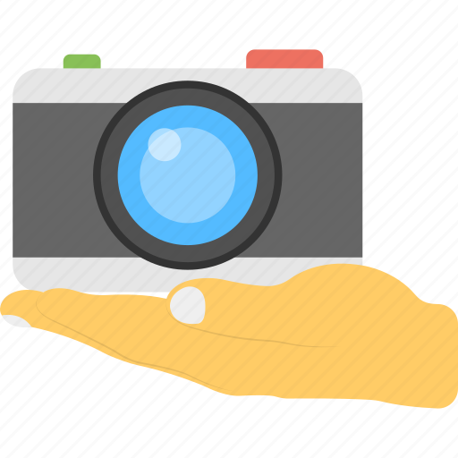 classic camera, digital slr camera, hand presenting camera, image making, photography service icon