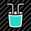 plastic, pipe, glass, bottle, trash icon