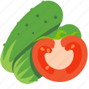 cucumber, fresh, tomato, vegetables icon