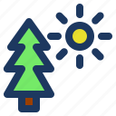 holiday, jaunt, picnic, summer, sun, tree icon
