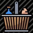 basket, bottles, camping, food, picnic, restaurant icon