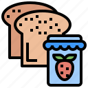 bakery, bread, breakfast, food, jam, meal, toast icon
