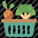 basket, bottles, camping, food, picnic, restaurant, vegetable icon