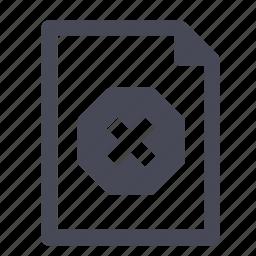 delete, document, error, file, missing, remove, unavailable icon