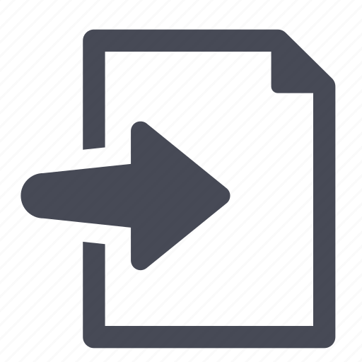 arrow, document, file, import, paper, right icon