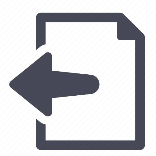 arrow, document, export, file, import, left icon