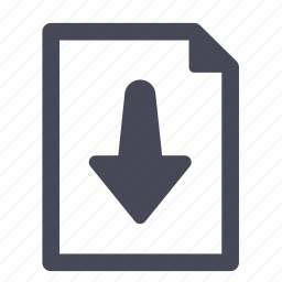 arrow, document, down, download, export, file, import icon
