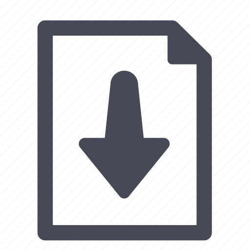 Download, file, down, document, arrow, import, export icon