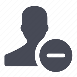 account, delete, exclude, female, remove, user icon