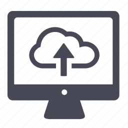 cloud, desktop, display, screen, upload icon