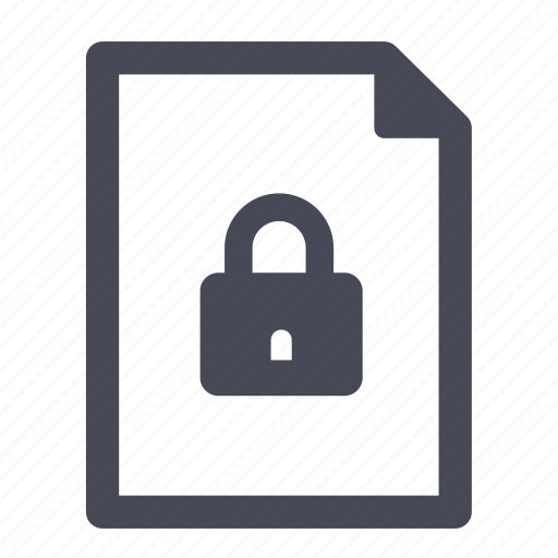 document, file, locked, password, security icon