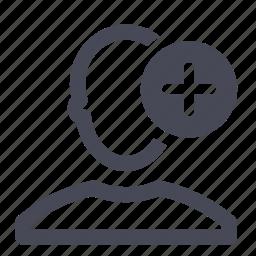 account, add, male, man, plus, profile, user icon