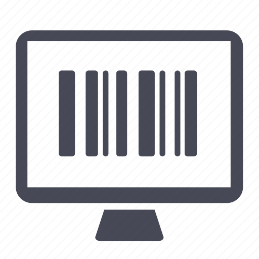 barcode, computer, monitor, scan icon