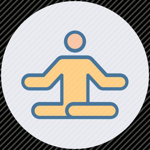 Focus, man, meditate, meditation, relax, sitting, yoga icon - Download on Iconfinder