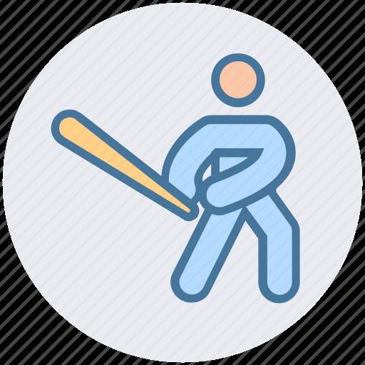 Baseball, baseball bat, baseball player, bat, glove, sports, sportsman icon - Download on Iconfinder