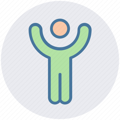 hands up, human, man, people, person, position icon