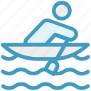 boat, kayak, man, paddle, person, sport, water