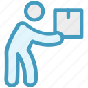 box, carrying, item, man, object, parcel, product icon