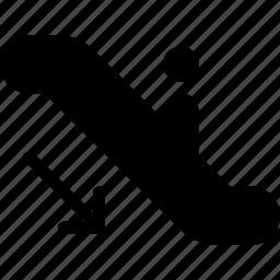 arrow, direction, down, escalator, navigation icon