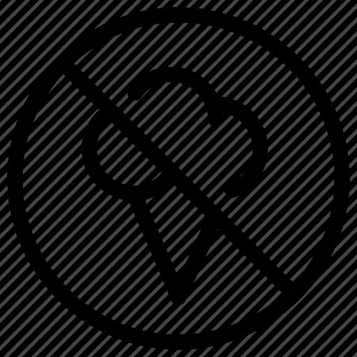 cancel, icecream, no, prohibited, remove icon