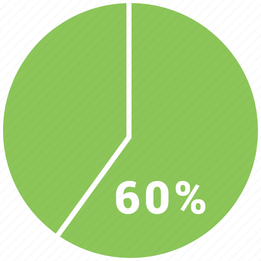 graphic, info, percent, pie, pie chart, sixty icon