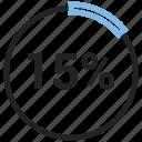 chart, diagram, fifteen, graph, percentage, pie chart, pie graph icon