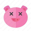 emotion, expression, face, head, pig, sad, smile icon