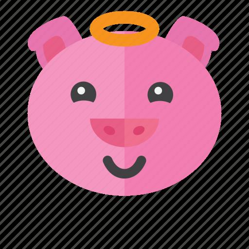 emotion, expression, face, head, pig, sad, smile icon