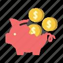 saving, finance, money, broken, piggy, dollar coins, bank icon