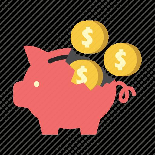 bank, broken, dollar coins, finance, money, piggy, saving icon