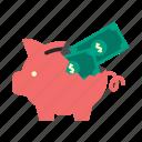 bank, dollar, finance, money, piggy, saving, storage