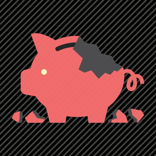 bank, broken, finance, money, piggy, saving, storage icon