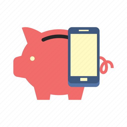apps, bank, finance, money, phone, piggy, saving icon