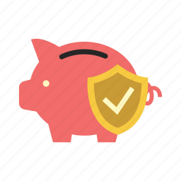 bank, finance, money, piggy, protection shield, saving, shield icon