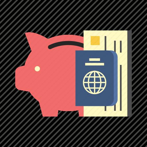 bank, finance, money, passport, piggy, saving, traveling icon
