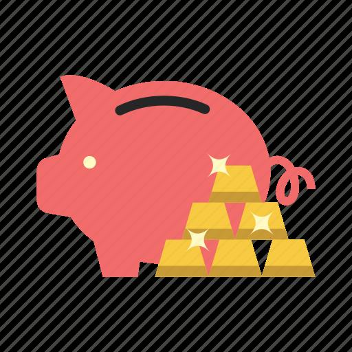 bank, finance, gold, money, piggy, saving, storage icon