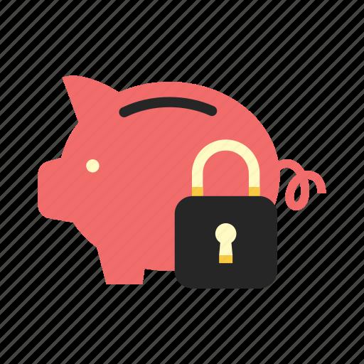 bank, finance, money, padlock, piggy, saving, secure icon