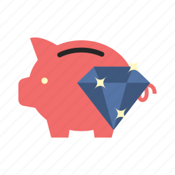 bank, diamond, finance, jewel, money, piggy, saving icon