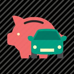 bank, car, finance, money, piggy, saving, trasportation icon