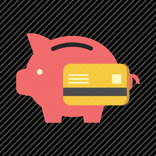 bank, credit card, debit card, finance, money, piggy, saving icon