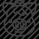 halo, pig, piggy, emoji, angel icon
