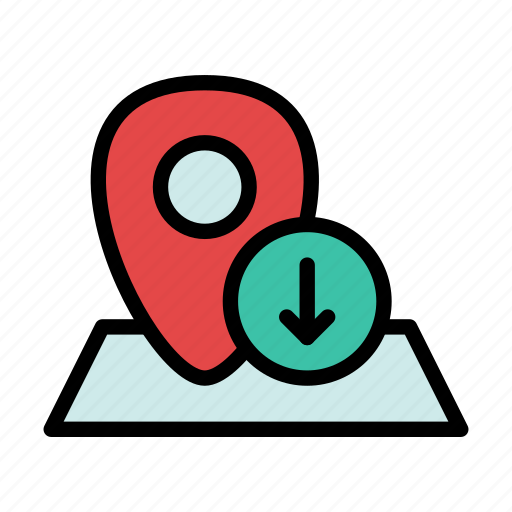 down, geo, location, map, navigation, pin, this icon