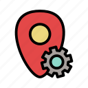 geo, location, navigation, pin, setting, tools icon