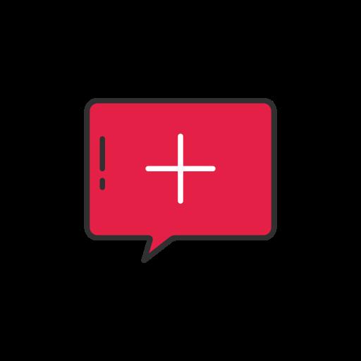 add, create, message, pinterest icon