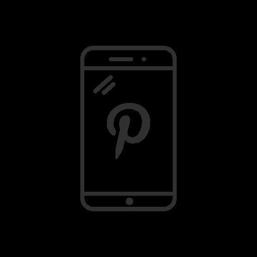 logo, mobile, phone, pinterest icon