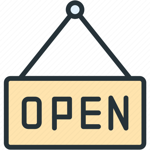 commerce, e, open, signboard icon